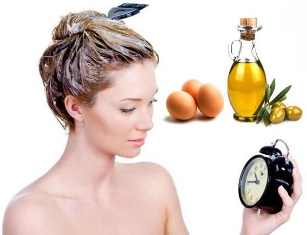 Нанесение маски с оливковым маслом