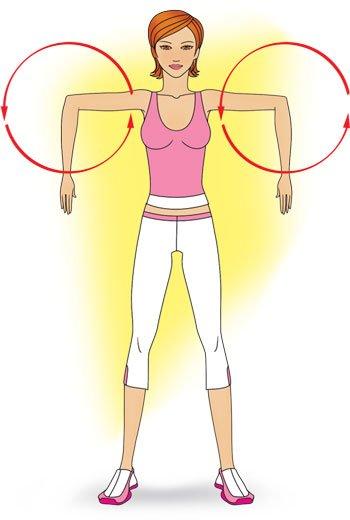 Выполнение упражнения для разминки локтей