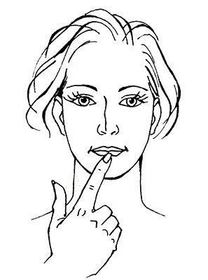 Фиксирование нижней губы пальцем