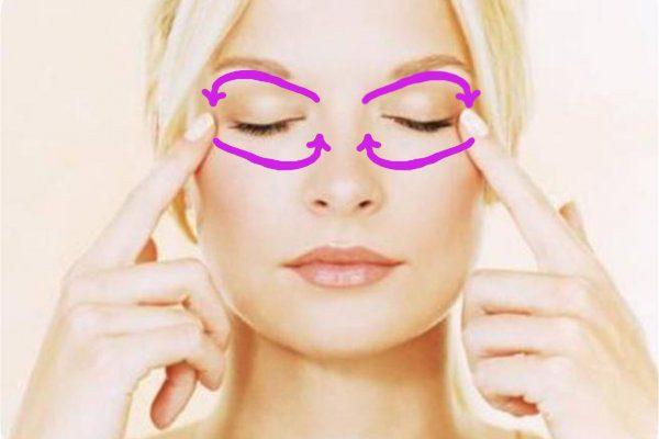Круговые движения сверху от внутреннего угла глаза к внешнему и снизу — от внешнего к внутреннему