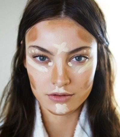 Схема нанесения тонального крема и хайлайтера на лицо