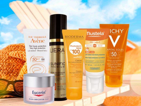 Тюбики с солнцезащитными кремами компаний Avene, Eucerin, Lierac, Bioderma, Mustela, Vichy