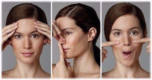 Девушка выполняет упражнение для коррекции формы носа