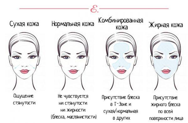 4 основных типа кожи