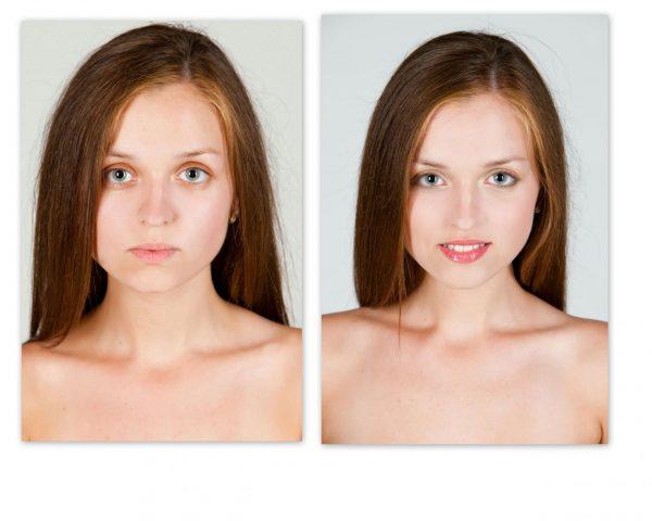 Девушка с макияжем до и после