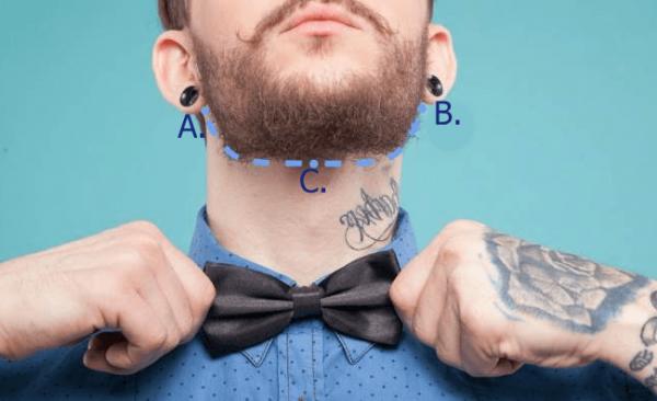 Линия бороды на шее