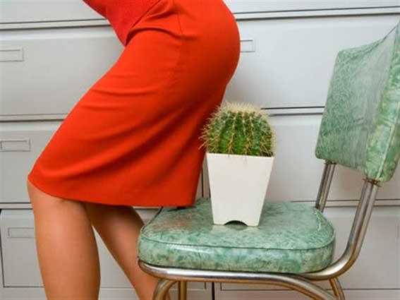 Женщина садится на кактус