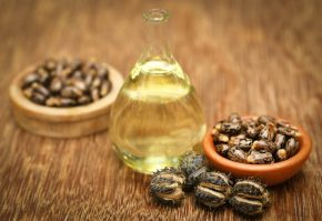 Бутылка касторового масла и семена клещевины