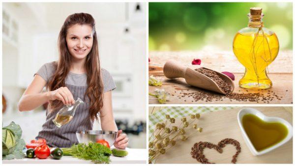 Девушка заправляет салат льняным маслом