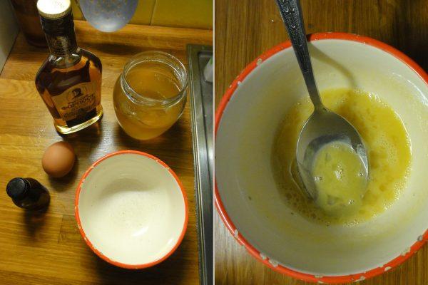 Коньяк, яйцо, мёд и масло
