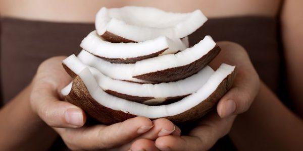 Копра кокоса в руках