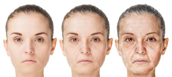 постепенное старение кожи лица и век