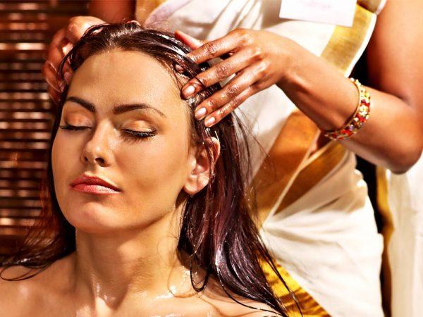 аюрведический массаж головы с маслом кунжута