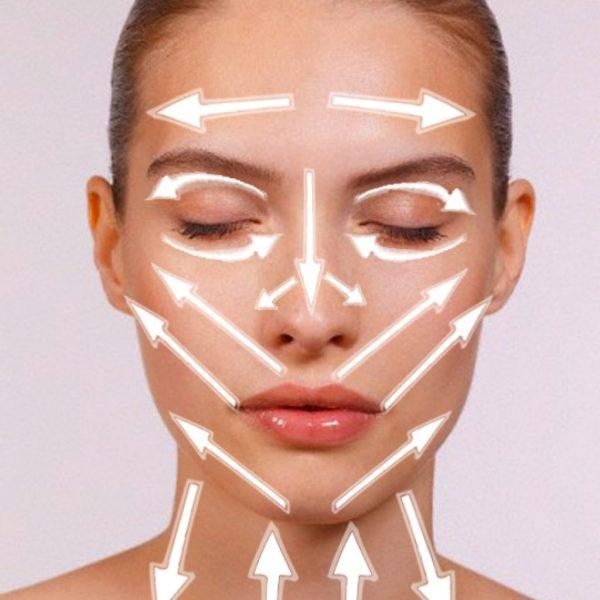 Линии нанесения косметического средства на лицо и шею