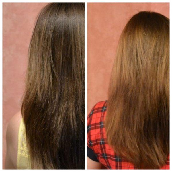 Волосы девушки до и после использования масла кокоса
