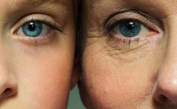 Сравнение лиц с молодой и увядающей кожей век