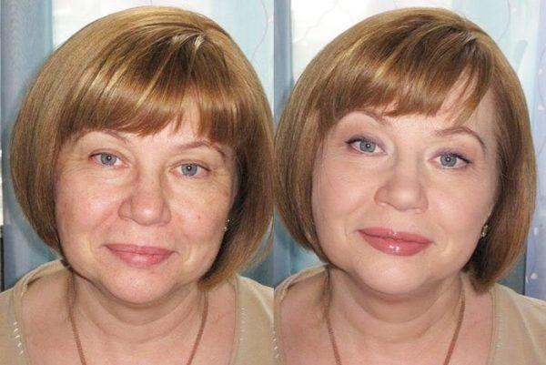 Женщина до нанесения косметики и после