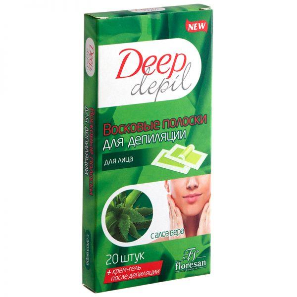 Упаковка полосок для лица Deep depil с алоэ вера