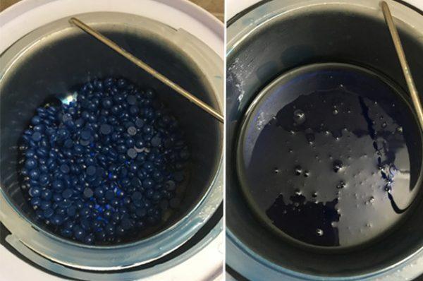 Разогревание воска в гранулах в воскоплаве