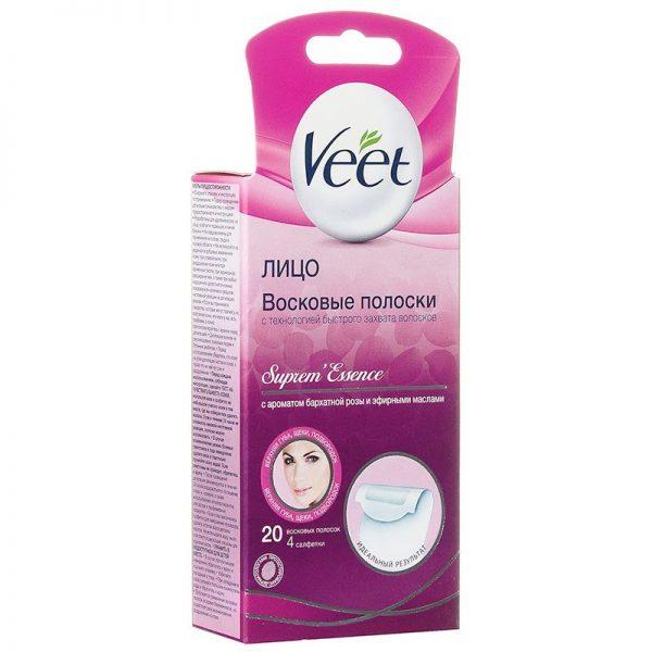 Коробка восковых полосок для лица от компании Veet