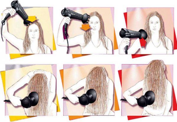 Основные приёмы для укладки вьющихся волос диффузором