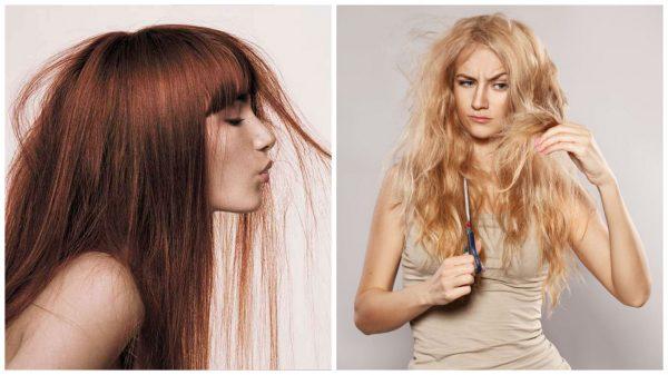 Испорченные и пересушенные волосы после завивки плойкой с металлической поверхностью