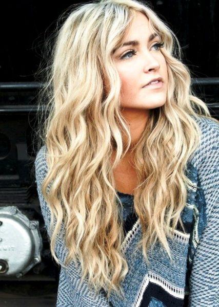 Укладка конусной плойкой на светлых длинных волосах
