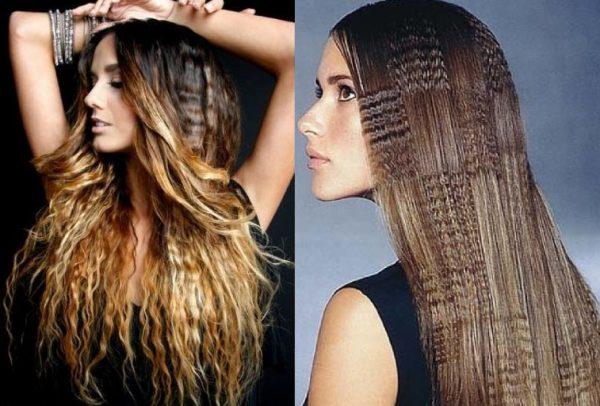 Длинные волосы с гофре