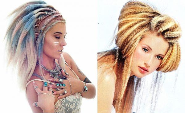 Гофре на волосах, окрашенных в разные цвета