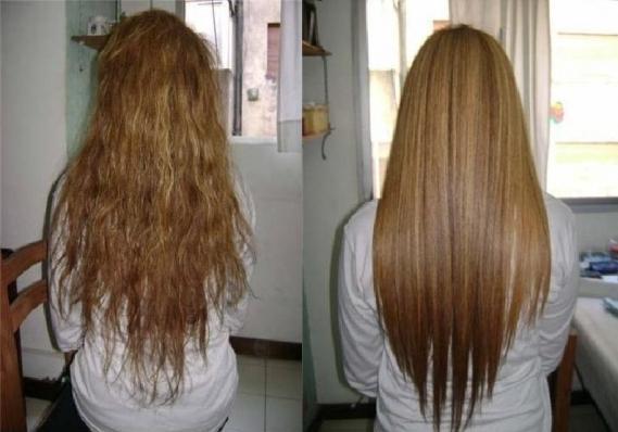 До и после выпрямления волос утюжком