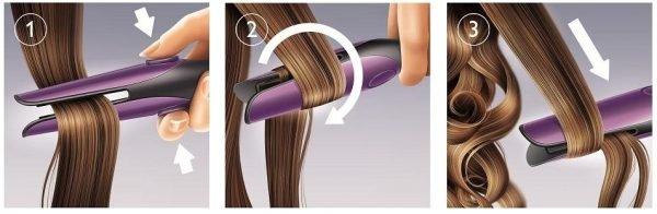 Схема работы с прядью волос в процессе завивки утюжком для выпрямления