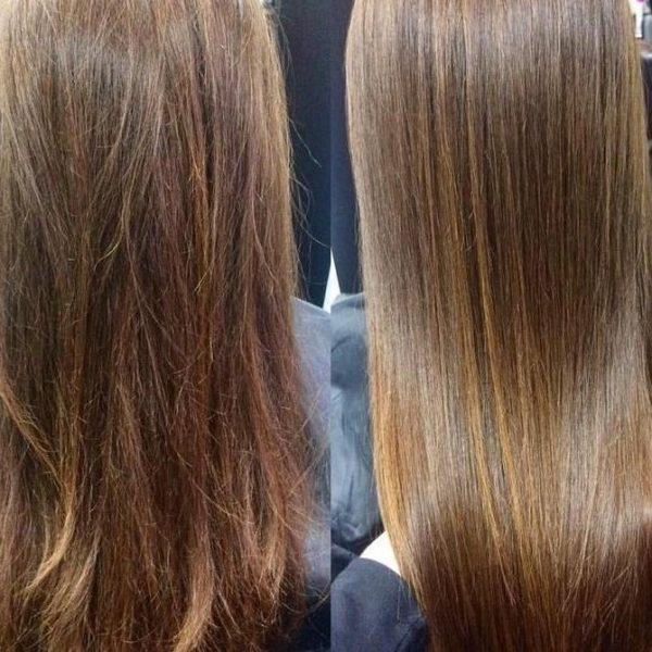 Волосы до и после укладки феном с функцией ионизации