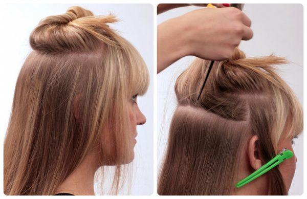 Волосы поделены на зоны