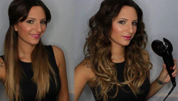 Волосы до и после завивки автоматической плойкой