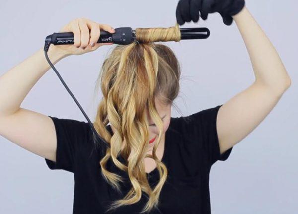 Завивка собранных в хвост волос
