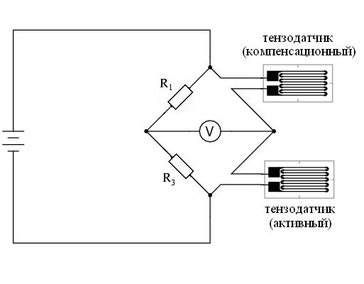 Схема измерения сопротивления тензодатчиков