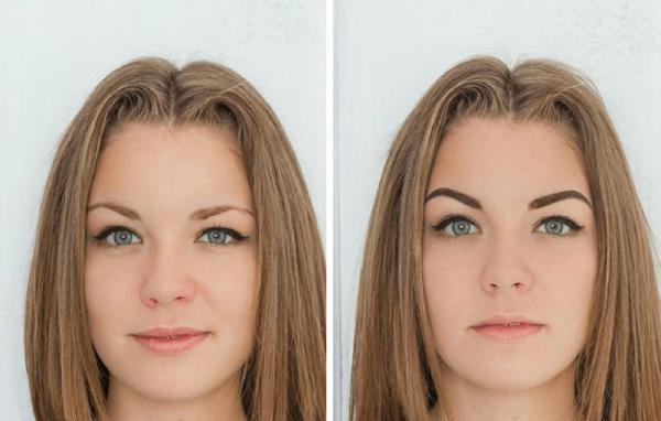 Девушка до и после окрашивания бровей хной