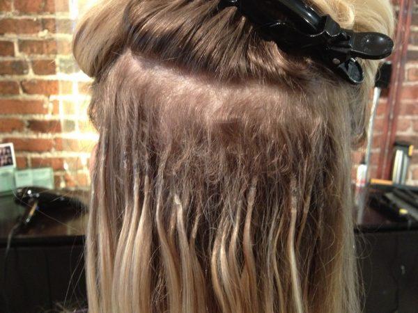Окрашивание наращённых волос