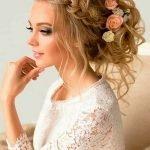 Коса и цветы в причёске
