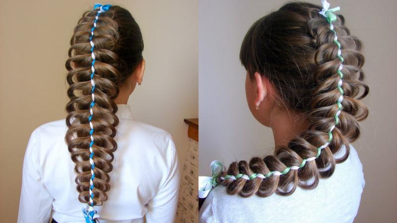 Как плести необычные косы с лентами: лучшие варианты причёски для девочек и девушек