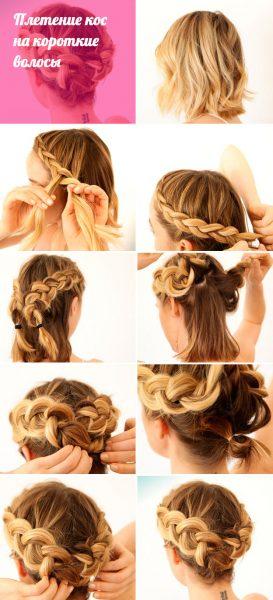 Техника плетения кос на короткие волосы