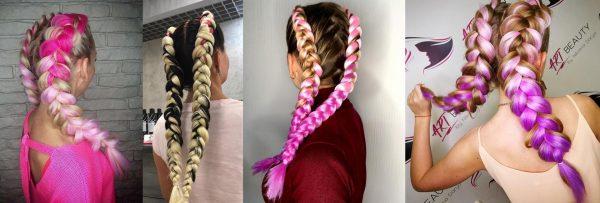 Косы с канекалоном на русых волосах