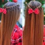 Длинные волосы, украшенные корзинкой из кос и бантом-бабочкой