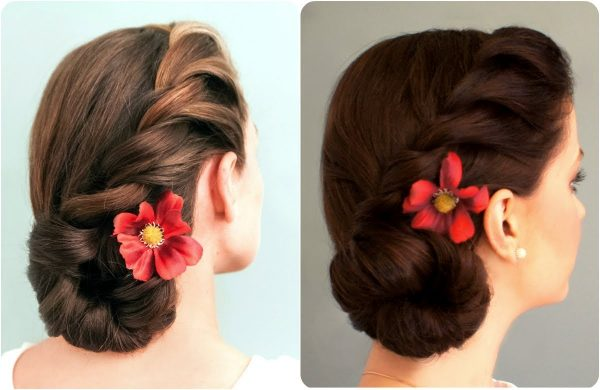 Пучок из косы с цветком