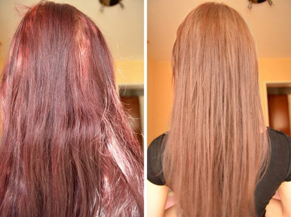 До и после смывания краски с волос дома