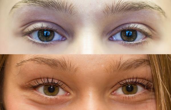 Светлые ресницы до и после ламинирования