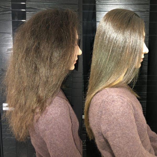 Волосы повреждённые и восстановленные