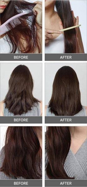 Результат применения филлера Eyenlip Professional Hair Ampoule Lulu