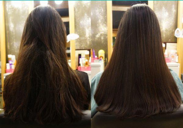 Результат применения филлера для волос