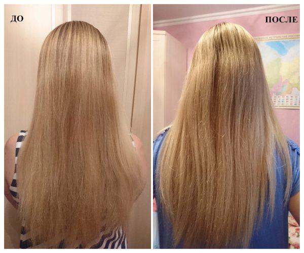 Эффект применения нанопластики на прямых волосых